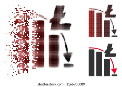 Litecoin epic fail chart icon in dissolved, pixelated halftone and undamaged whole versions. Elements are composed into vector dissipated Litecoin epic fail chart figure.