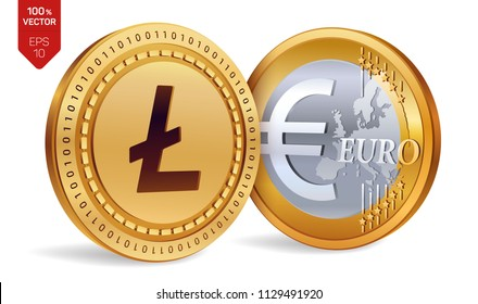 Litecoin. Euro. 3D isometric Physical coins. Digital currency. Cryptocurrency. Golden coins with Litecoin and Euro symbol isolated on white background. Vector illustration.