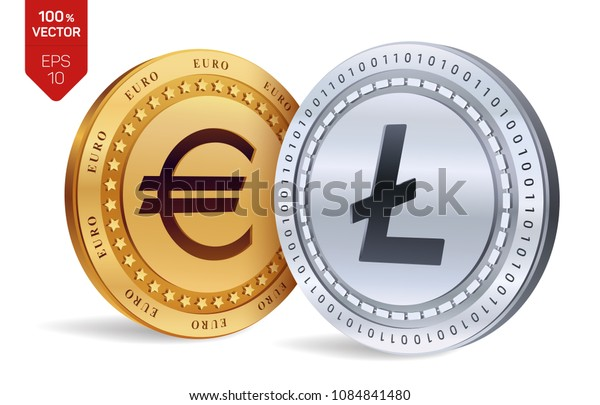 Litecoin. Euro coin. 3D isometric Physical coins. Digital currency. Cryptocurrency. Golden and silver coins with Litecoin and Euro symbol isolated on white background. Vector illustration.