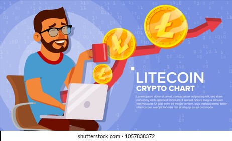 Litecoin Up Trend, Growth Concept Vector. Trade Chart. Virtual Money Happy Man Investor. Crypto Currency Market Concept. Flat Cartoon Illustration