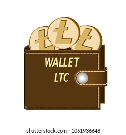 litecoin wallet with coins on a white background , crypto currency in the wallet ,litecoin coins in the wallet , design concept