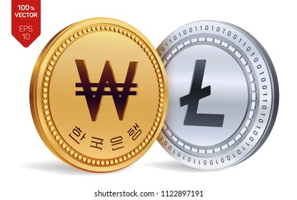 Litecoin. Won. 3D isometric Physical coins. Digital currency. Korea Won coin. Cryptocurrency. Golden and silver coins with Litecoin and Won symbol isolated on white background. Vector illustration.