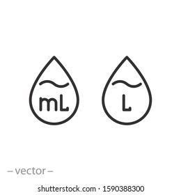 liter icon, drop liquid, fluid volume l and ml, capacity water, thin line web symbol on white background - editable stroke vector illustration eps10