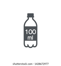 Liter l sign (l-mark) estimated volumes 100 milliliters (ml) Vector symbol packaging, labels used for prepacked foods, drinks different liters and milliliters. 100 ml vol single icon isolated on white