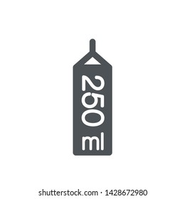Liter l sign (l-mark) estimated volumes 250 milliliters (ml) Vector symbol packaging, labels used for prepacked foods, drinks different liters and milliliters. 250 ml vol single icon isolated on white