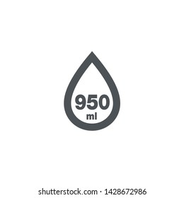 Liter l sign (l-mark) estimated volumes 950 milliliters (ml) Vector symbol packaging, labels used for prepacked foods, drinks different liters and milliliters. 950 ml vol single icon isolated on white