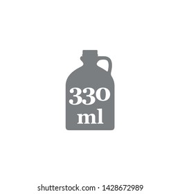 Liter l sign (l-mark) estimated volumes 330 milliliters (ml) Vector symbol packaging, labels used for prepacked foods, drinks different liters and milliliters. 330 ml vol single icon isolated on white