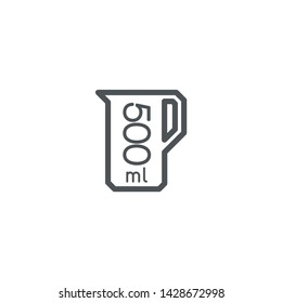 Liter l sign (l-mark) estimated volumes 500 milliliters (ml) Vector symbol packaging, labels used for prepacked foods, drinks different liters and milliliters. 500 ml vol single icon isolated on white