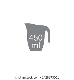 Liter l sign (l-mark) estimated volumes 450 milliliters (ml) Vector symbol packaging, labels used for prepacked foods, drinks different liters and milliliters. 450 ml vol single icon isolated on white