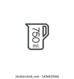 Liter l sign (l-mark) estimated volumes 750 milliliters (ml) Vector symbol packaging, labels used for prepacked foods, drinks different liters and milliliters. 750 ml vol single icon isolated on white