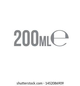 Liter l sign (l-mark) estimated volumes 200 milliliters (ml) Vector symbol packaging, labels used for prepacked foods, drinks different liters and milliliters. 200 ml vol single icon isolated on white
