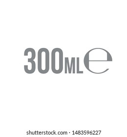 Liter l sign (l-mark) estimated volumes 300 milliliters (ml) Vector symbol packaging, labels used for prepacked foods, drinks different liters and milliliters. 300 ml vol single icon isolated on white