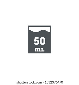 Liter l sign (l-mark) estimated volumes 50 milliliters (ml). Vector symbol packaging and labels used for prepacked foods, drinks different liters and milliliters. 50 Vol single icon isolated on white