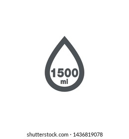 Liter l sign (mark) estimated volumes 1500 milliliters (ml) Vector symbol packaging, labels used for prepacked foods, drinks different liters and milliliters. 1500 ml vol single icon isolated on white