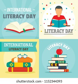 Literacy Day book international library banner concept set. Flat illustration of 4 Literacy Day book international library vector banner concepts for web