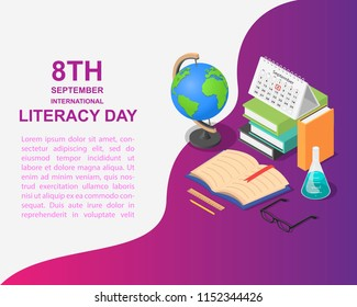 Literacy Day book science library banner concept. Isometric illustration of Literacy Day book science library vector banner for web