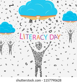 Literacy Day illustration, people made of alphabet letter under book clouds. World education for children concept. EPS10 vector.