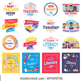 Literacy and teachers day stickers set with big signs, books in hardcover, male and female characters and stationery supplies vector illustrations.
