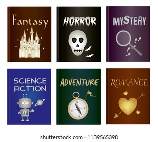 Literary book icon set - Fantasy, Horror, Mystery, Science Fiction, Adventure and Romance genre