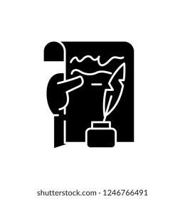 Literary creativity black icon, vector sign on isolated background. Literary creativity concept symbol, illustration
