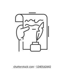Literary creativity line icon concept. Literary creativity vector linear illustration, symbol, sign
