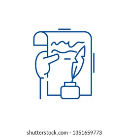 Literary creativity line icon concept. Literary creativity flat  vector symbol, sign, outline illustration.