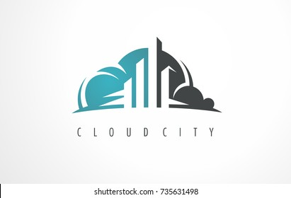 Literary presentation for a real estate business. City logo. An ideal sign for city or cloud server. City cloud digital server logo. Build logo.