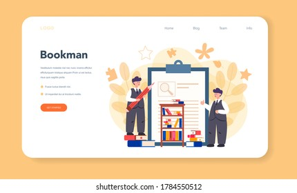 Literary scholar or critic web banner or landing page. Scientist studying and research works of literature, history of literature, genres, and literary criticism. Flat vector illustration