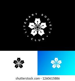 Literary society club logo. Write pens like flowers. Identity
