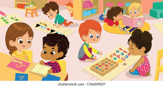 The Literature Area of Montessori Class. Children practice writing letters parts of the speech and words. Girls are reading books to each other in a book corner