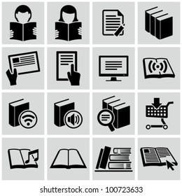 Literature and e-book icons set.