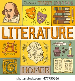 Literature hand drawn colorful vector poster with doodle icons, images and objects, isolated on background.