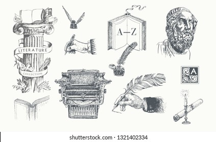 Literature hand drawn vector set. Inkwell, writing tools, pens, books, ancient manuscripts, typewriter, antique column and bust. Literature symbols. Engraving