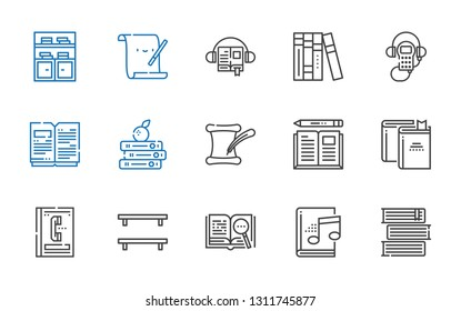literature icons set. Collection of literature with books, audiobook, open book, bookshelf, phone book, book, audio guide, parchment. Editable and scalable literature icons.