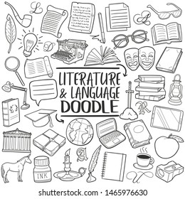 Literature and Language School. Traditional Doodle Icons. Sketch Hand Made Design Vector.