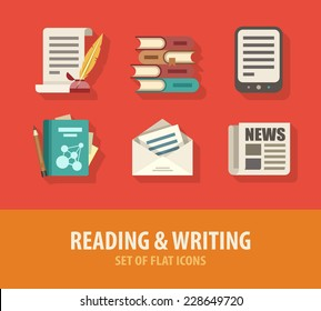 Literature reading and writing set of flat icons. Eps10 vector illustration