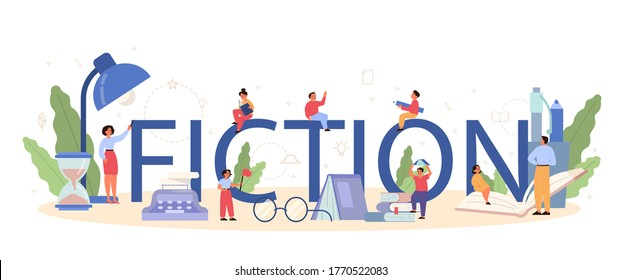 Literature school subject typographic header concept. Webinar, course and lesson. Idea of education and knowledge. Study ancient writer and modern novel. Vector illustration in flat style