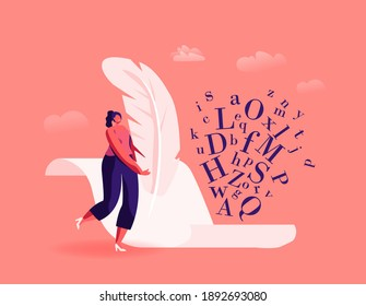 Literature and Writing Hobby, Occupation. Tiny Female Author Character with Huge Feather Pen Writing on Blank Paper Sheet, Woman Create Books, Poetry or Narration Concept. Cartoon Vector Illustration