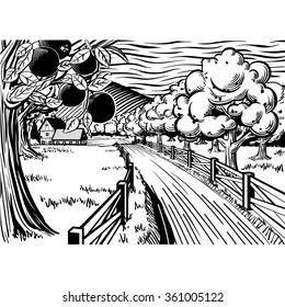 A lithographic black and white style apple orchard illustration. A tree with apples and a fence and road leading to a farm in the background.