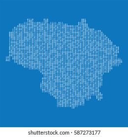 Lithuania country map made from binary code numbers.