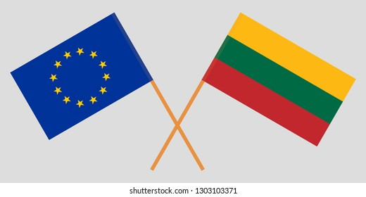 Lithuania and EU. The Lithuanian and European flags. Official colors. Correct proportion. Vector illustration