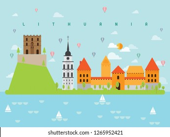 Lithuania Famous Landmarks Infographic Templates for Traveling Minimal Style and Icon, Symbol Set Vector Illustration Can be use for Poster Travel book, Postcard, Billboard.