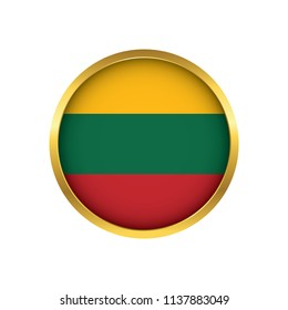 Lithuania flag button, Golden on a white background,flag of Lithuania Round badge or icon isolated. Vector illustration.