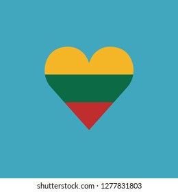 Lithuania flag icon in a heart shape in flat design. Independence day or National day holiday concept.