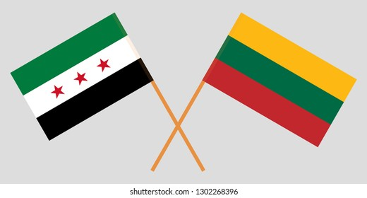 Lithuania and Interim Government of Syria. The Lithuanian and Coalition flags. Official colors. Correct proportion. Vector illustration