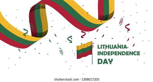 lithuania national day with white background, or independence day - vector