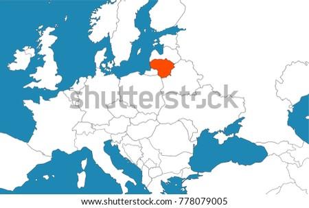 Lithuania On Europe Map.Lithuania On Europe Map Vector Illustration Stock Vector Royalty