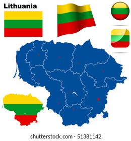 Lithuania vector set. Detailed country shape with region borders, flags and icons isolated on white background.