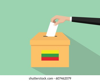 lithuania vote election concept illustration with people voter hand gives votes insert to boxes election with long shadow flat style