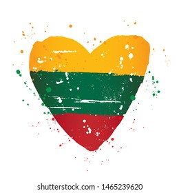 Lithuanian flag in the form of a big heart. Vector illustration on white background. Brush strokes drawn by hand. Day of restoration of independence of Lithuania.